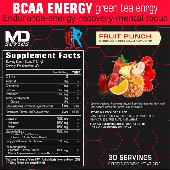 BCAA BURN Fruit Punch - 30 servings