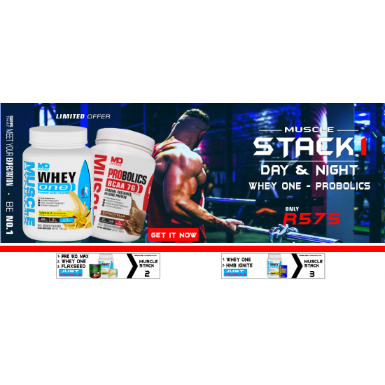 MUSCLE STACK 1: DAY & NIGHT - WHEY ONE & PROBOLICS